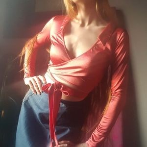 Coral Pink Wrap Top Collared Shirt Current Mood M